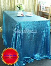 60in by 102in Factory Prices Aqua Blue Table Cloth Rectangular Sequin Tablecloths for Weddings