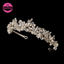 LUOSU Handmade High Quality Floral Wedding Tiara Bridal Crystal Freshwater Pearls Tiaras Women Elegent Hair Accessories(China)