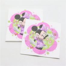 minnie mouse paper napkins 20pcs/lot Handkerchief happy birthday theme paper towel tissue for kids baby shower party decor