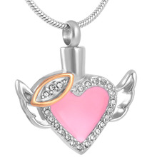 IJD8343 lip Heart with Flying Wings - Stainless Steel Memorial Jewelry - Ash Holder Keepsake Cremation Necklace for Girl(China)