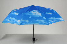 Blur sky umbrella rain women 3-Fold Sunblock UV Block Protection Travel Compact Lightweight Umbrella Blue Sky & White Cloud