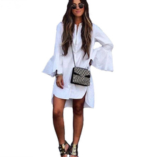 Buy Women White Flare Sleeve Shirt Dress 2018 Spring Summer Fashion Straight V-neck Button Dresses Elegant Casual Female Clothing for $8.98 in AliExpress store