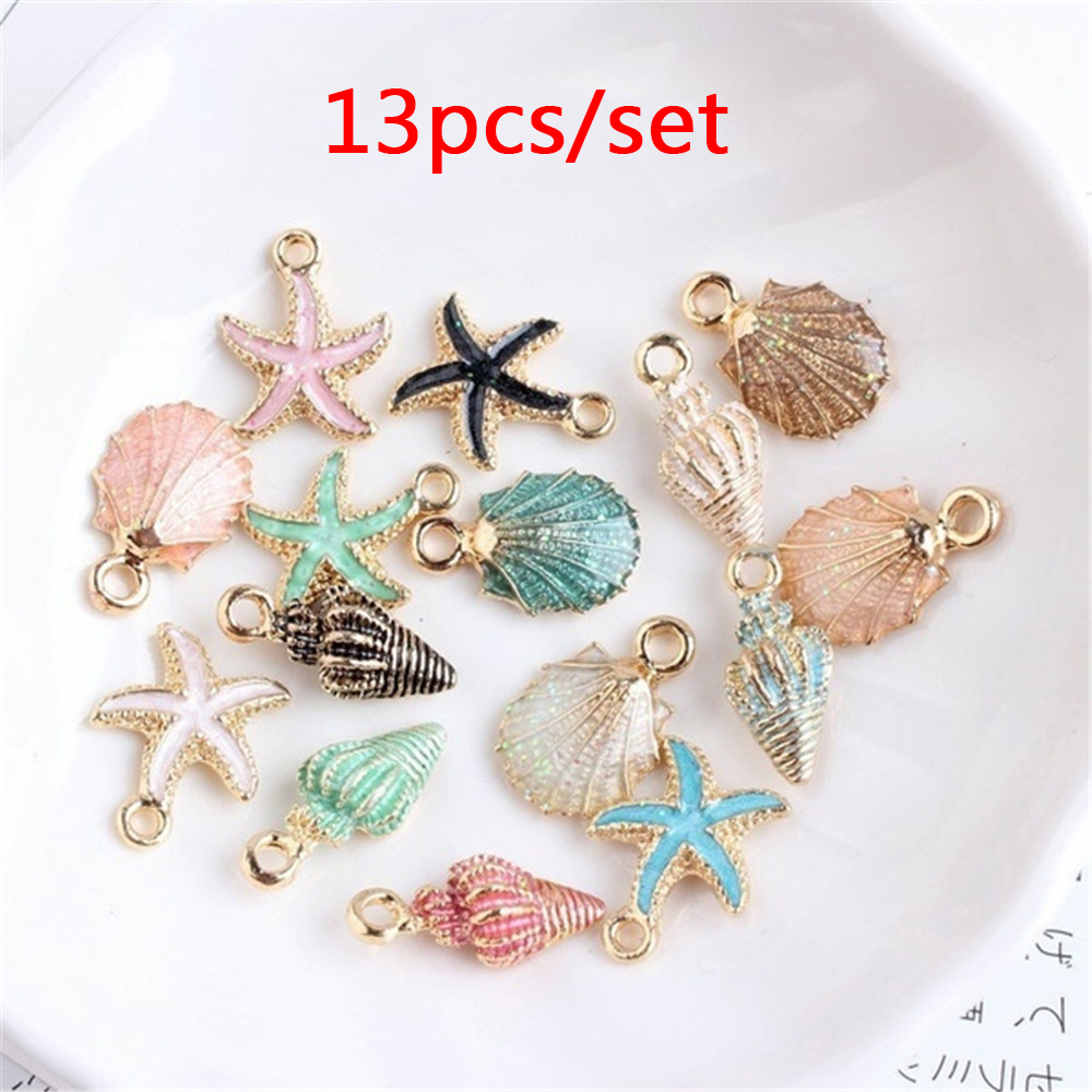 13 Pcs/Set Jewelry Making Conch Starfish Sea Shell Pendant DIY Bracelet Earrings Jewelry Making Handmade Accessories