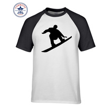 2017 Hot Selling Funny  Fashion Snowboarder jumps T shirt Funny T Shirt for men