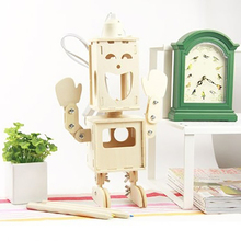 DIY E27 Double Face Boy Desk Lamp Wood Robot Table Lamps Home Decoration Crafts Kids Night Light Storage Box Fancy Toy Gift