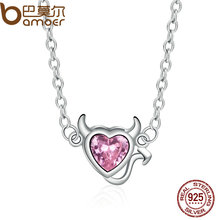 BAMOER Genuine 925 Sterling Silver Sweet Devil's Heart Pink Crystal Pendants Necklace for Women Fine Jewelry SCN072(China)