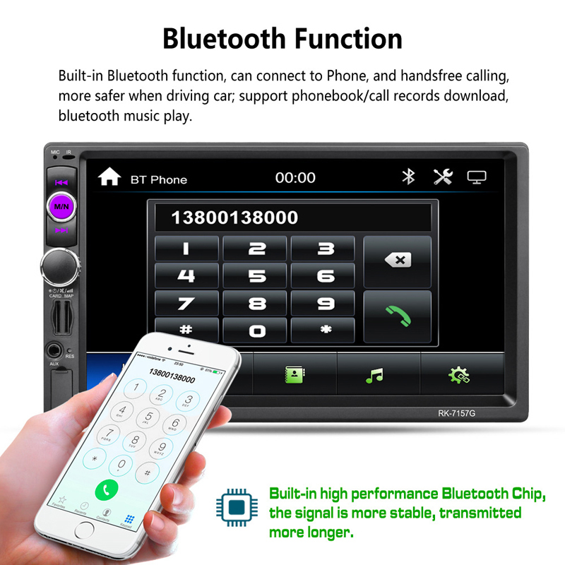 "High Quality 7"" Double 2DIN HD Bluetooth Car MP5 Player AM/FM Radio GPS USB AUX + Camera Car Electronics Accessories"