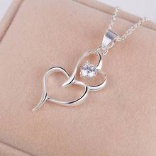 Silver Lovely Necklace Double Heart With CZ Nice  Necklace For Women AN170