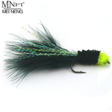 Trout Fishing-Streamer Head-Marabou Leech-Fly Flashabou MNFT Egg-Sucking Black with 6PCS