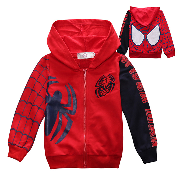 2017 New Children Cotton Jacket Spider Zipper Coat Boy  Hooded Long Sleeved Sweater clothes outerwear coat two color<br>