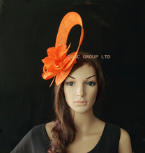NEW 5 colors.Orange Sinamay fascinator hat for Melbourne Cup,Ascot Races,kentucky derby,wedding.