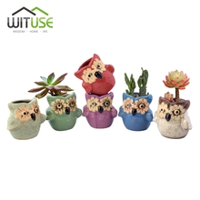 WITUSE 1PC Ceramic Flower-eye Owl Garden Pots Planters Pastoral Style Retro Creative Succulents Nursery Floral Garden Supplies(China)