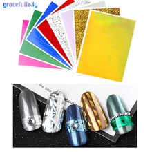 8 pcs Gracefullady Laser Holo 3D Nail Sticker Ultra Thin Laser Line Candy Nail Foil Decal Straight line / curve / polyline(China)