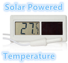 Waterproof Solar Powered Digital LCD Temperature Thermometer Sensor Hydrothermograph With Cable  -50 degree to 150 degree