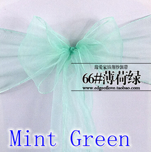 Mint green colour Chair Sashes crystal Organza sash Wedding Party Decoration Bow sash wholesale snow organza silk sash band(China)
