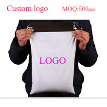 25*30cm 500pcs printed your own logo White PE Mailing Bags Plastic Mailers Bag Poly Mailing Courier Envelope Express Posting