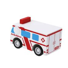Wooden Car Toys Pull Back Car New Mini Wooden Ambulance Toys Education And Learning Puzzles Toys for Children(China)