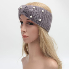 Winter Women's Knitting Headband Women Fashion Imitation Pearls Hairband Accessories Elgant Ladies Handmade Hair Bands #LH(China)