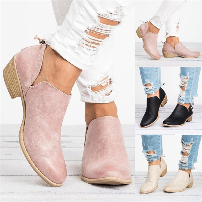 2018 NEW Women Ladies Autumn Shoes Fashion Ankle Solid Leather Martin Shoes Short Boots  O0531#302
