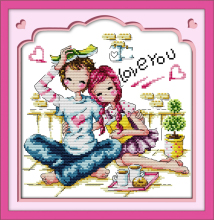 Romance partners cross stitch kit cartoon people lovers printed DMC 18 14ct 11ct embroidery handmade needlework craft supplies