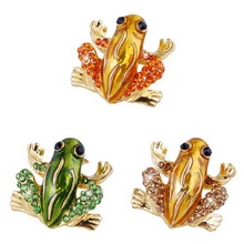 Rhinestone Scarf Pins Brooches For Women Small Fashion Animal Frog Brooches Jewelry Lovely Crystal