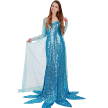 Wonder beauty Women sexy Ice Snow Queen light blue snow lace cover sequined long dress Women sexy costume party club ball dress