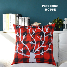 Nordic Plaid Velvet Pillow Covers Tree Pillow Covers With Staghorns Red Pillow covers