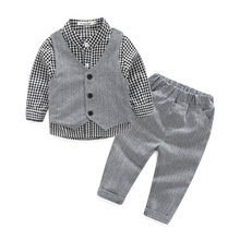 Brand Fashion Baby Boy's clothing set Handsome autumn Baby child suit set cotton Children long sleeve dress shirt+trousers +vest