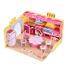 DIY Handcraft Toys Jigsaw Fun Kitchen 3D Stereoscopic Puzzles Paper Puzzles Educational Toys For early education(China)