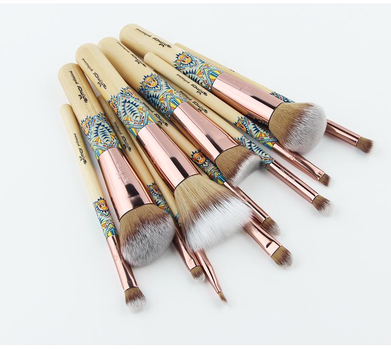 Nouveau Maquillage Brosses 12 pcs Ensemble En Bambou Make Up Brosse Souple Synthétique Collection Kit avec Poudre Contour Fard À Paupières Sourcils Brosses 9