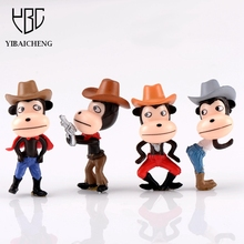 4/ Set Cute Cool Cowboy Monkey Action Figures Model Toys Dolls Decoration Kids Gifts Collectibles Micro Landscape Toys Figures