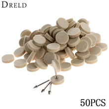 50Pcs 25mm Dremel Accessories Wool Felt Polishing Buffing Wheel Grinding Polishing Pad+2Pcs 3.2 mm Shanks for Dremel Rotary Tool