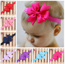 2pc new baby toddler bow hairband infant newborn grosgrain ribbon elastics headbands birthday gift for children hair accessories(China)