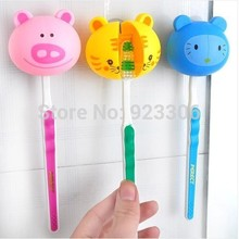 Free Shipiping 480PCS/lot Wholesale retail innovative items mini cartoon animal plastic toothbrush holder with sucker Y86(China)