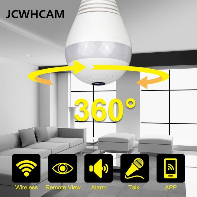 JCWHCAM 960P 360 degree Wireless IP Camera Light FishEye Smart Home CCTV 3D VR Camera 1.3MP Home Security WiFi Camera Panoramic<br>