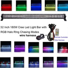 32Inch 180W CreeLed Light Bar with RGB Angle Eyes Colors Changing 300 Flashing Modes Led Emergency Light Bar for Offroad Atv Suv