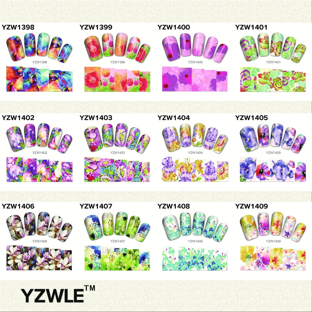 YZWLE New Color Flowers Style Nail Art Water Decals Transfer Stickers Splendid Water Decals Sticker, 28 Available(YZW(T-1398)28)<br><br>Aliexpress