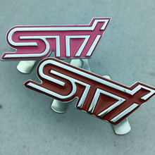 STI Front Grille Zinc Alloy Chromed Emblem Badge Decal Sticker For Subaru Cars(China)
