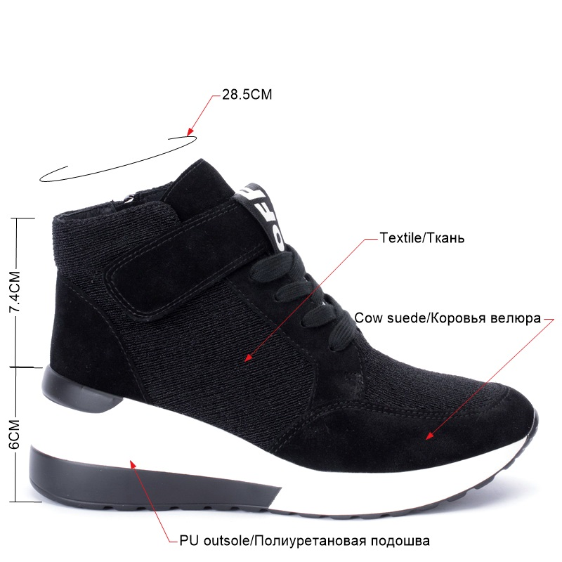BELISS 2018 spring autumn ankle boots wedges cow suede leather platform hook loop women sneakers (21)