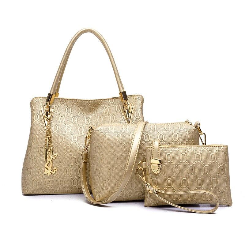 3 sets 2017 women handbags leather handbag women messenger bags ladies brand designs bag bags Handbag+Messenger Bag+Purse 3 Sets<br>