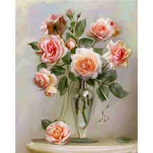 HOME BEAUTY diy oil painting by numbers wall decor picture on canvas drawing coloring by number flowers oil paint rose J014(China)