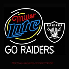 Miller Lite Raiders Neon Bulbs Store Display Neon sign Impact Handcrafted Great gifts Restaurant Hotel Advertise Sign 30x24