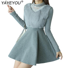 YAYEYOU 2017 Autumn Winter Women's Sweaters Dresses Wool Patchwork Pattern Slim Vintage Dress Long Sleeve Knitting Dress(China)