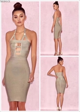 2017 new bandage dress stretch tight nightclub ladies birthday party dinner fashion sexy hanging neck hollow halter button