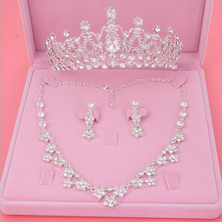 Womens Crystal Pearl Jewelry Hair Crown Headpiece Necklace Pendant Earrings Sets (1)