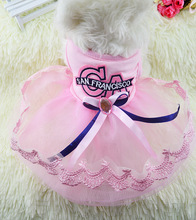 New 2016 Summer Dog Clothes Diamonds Bow tulle Dress Cute Princess tutu Pet Wedding Dress For Pet Clothes Supplies C36