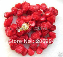 "factory price new arrive pretty Red rose flower coral necklace 17"" fashion jewelry free shipping"