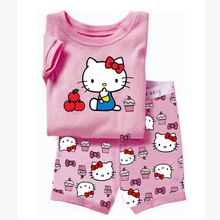 2015 New Summer Suits Girls Hello Kitty Pajamas Baby KT Cat Printed Pijamas sets Short Children's Clothing set Kids Sleepwears
