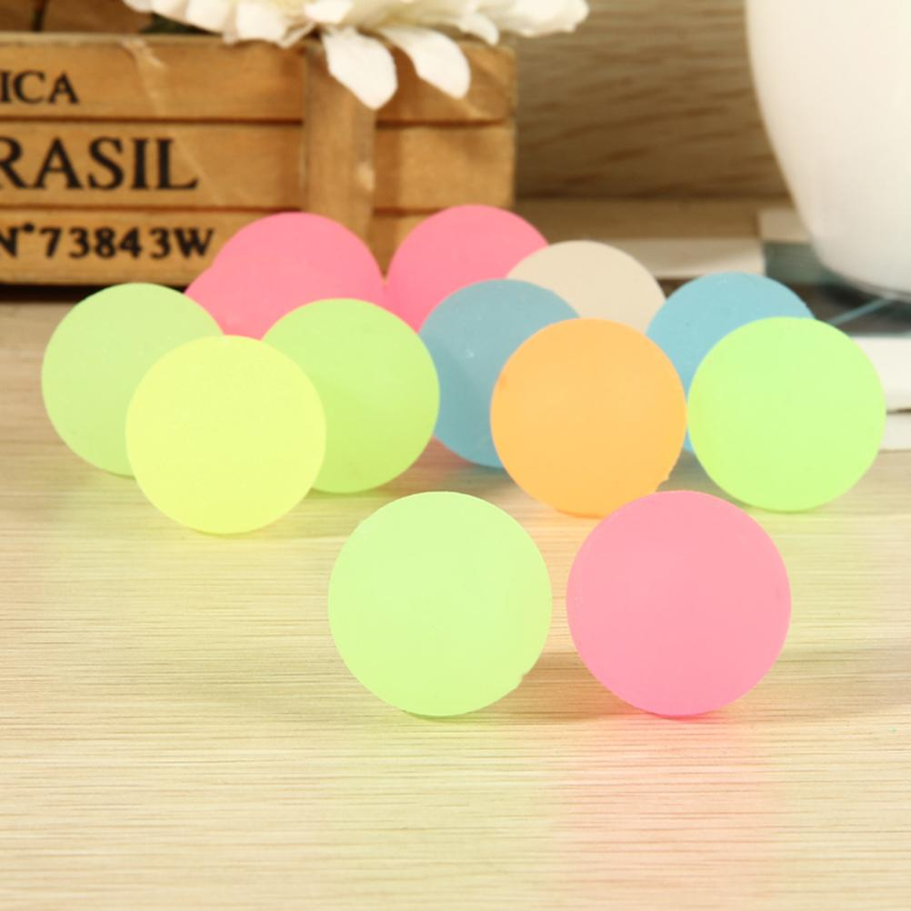 10Pcs Luminous Moonlight High Bounce Ball Glow in the Dark Noctilucent Pinata Fillers Kids Party Favor Goodie Bag Party Acc
