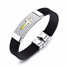 2017 Men Jewelry Black Silicone Rubber Bracelet Silver Black Golden Cross Stainless Steel Wrist Bangle Punk Accessory(China)